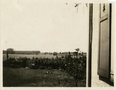 Clarence Godshalk's garden at first Arboretum house, field beyond now Arbordale and Arbor Lake