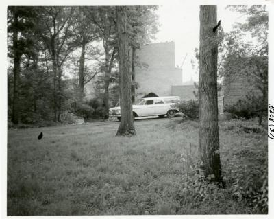 Cricket Hill, construction of tower, vehicle parked in front of tower