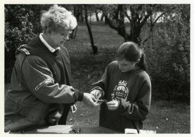 Arbor Day, woman and young girl crafting