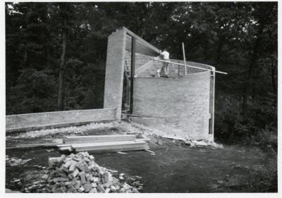 Cricket Hill, construction of tower, man working