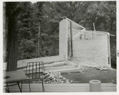 Cricket Hill, construction of tower, view from patio