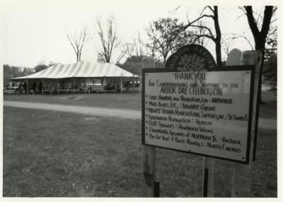 Arbor Day, sign and activity tent