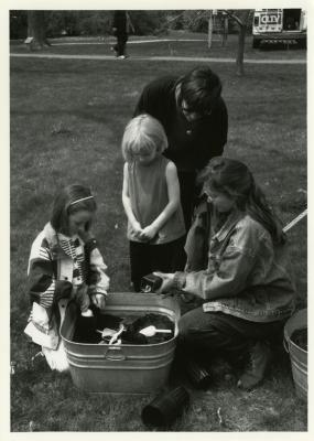 Arbor Day/Week, Rose Rieger planting with children