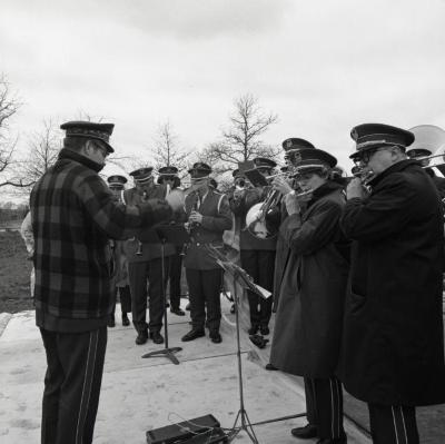 Arbor Day Centennial, tree planting, Naperville Municipal Band playing music outside