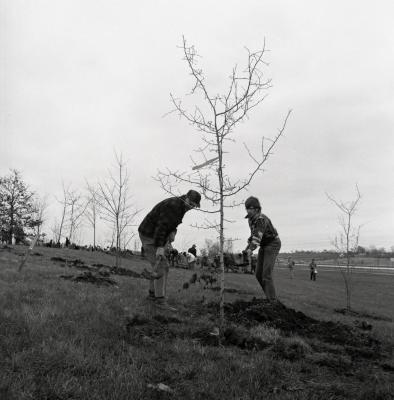 Arbor Day Centennial, Centennial Grove tree planting, two men shoveling dirt over newly planted tree