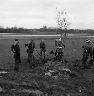 Arbor Day Centennial, Centennial Grove tree planting, Dick Wason and group shoveling dirt over newly planted tree