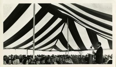 Arbor Day Centennial, James Olson, biographer of J. Sterling Morton, speaking to seated crowd under tent