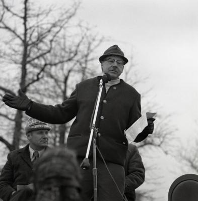 Arbor Day Centennial, tree planting, Alfred Etter at microphone speaking to crowd