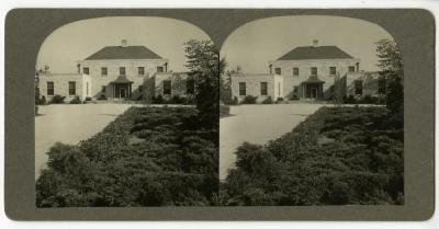 Administration Building entrance and drive, stereograph