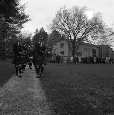 Arbor Day Centennial, tree planting afternoon program, Shannon Rovers pipe band playing bagpipes leading processional down Joy Path from Thornhill