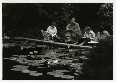Late summer art class at lily pond near Administration Building
