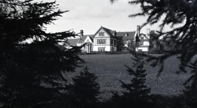 South view of Morton residence and lawn from evergreens