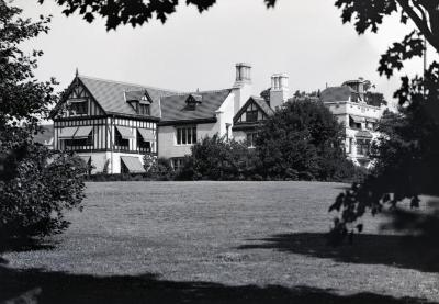 Southeast view of Morton residence with awnings