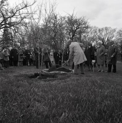 Arbor Day Centennial, afternoon program, crowd watches as J. Sterling Morton descendant shovels dirt over newly planted 'Winter King' hawthorn