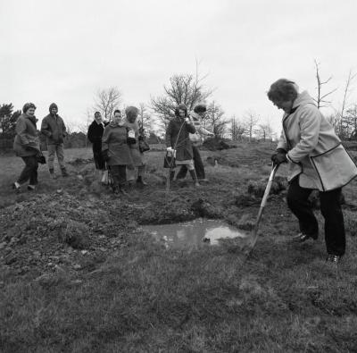 Arbor Day Centennial, Centennial Grove tree planting, group of women watching as woman uses shovel