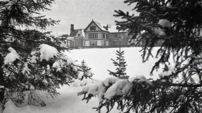 Evergreens framing south view of Morton residence in winter