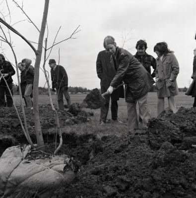Arbor Day Centennial, Centennial Grove tree planting, woman shoveling dirt over newly planted tree as others stand by
