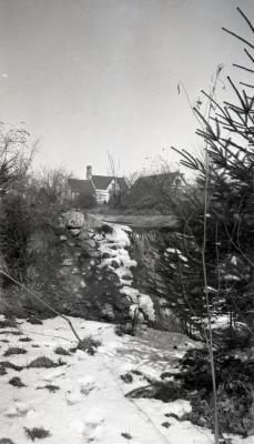 Old rock garden near Morton residence in winter
